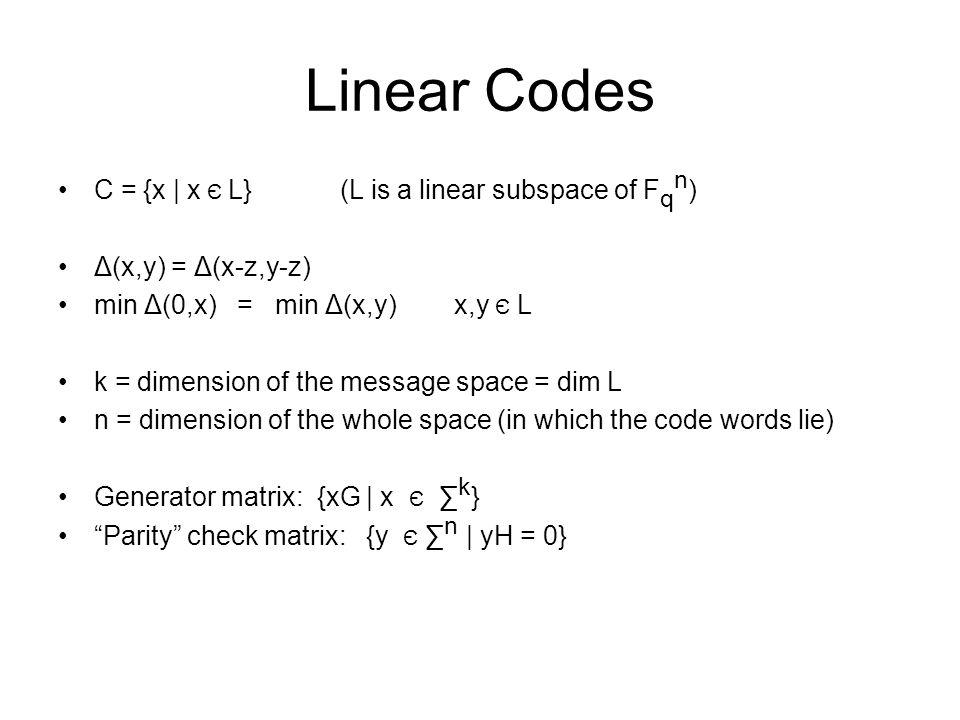 Linear Codes C = {x | x Є L} (L is a linear subspace of F q n ) Δ(x,y) = Δ(x-z,y-z) min Δ(0,x) = min Δ(x,y) x,y Є L k = dimension of the message space
