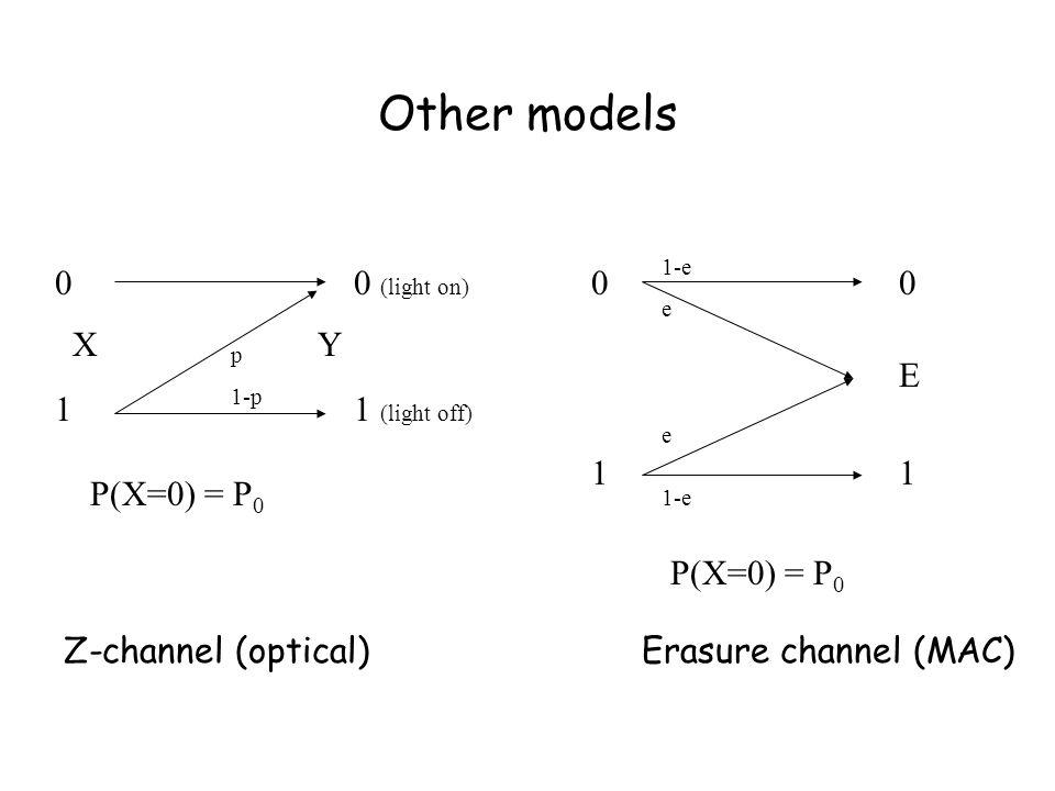 Other models 0101 0 (light on) 1 (light off) p 1-p X Y P(X=0) = P 0 0101 0E10E1 1-e e 1-e P(X=0) = P 0 Z-channel (optical) Erasure channel (MAC)