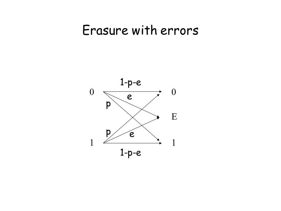 Erasure with errors 0101 0E10E1 p p e e 1-p-e