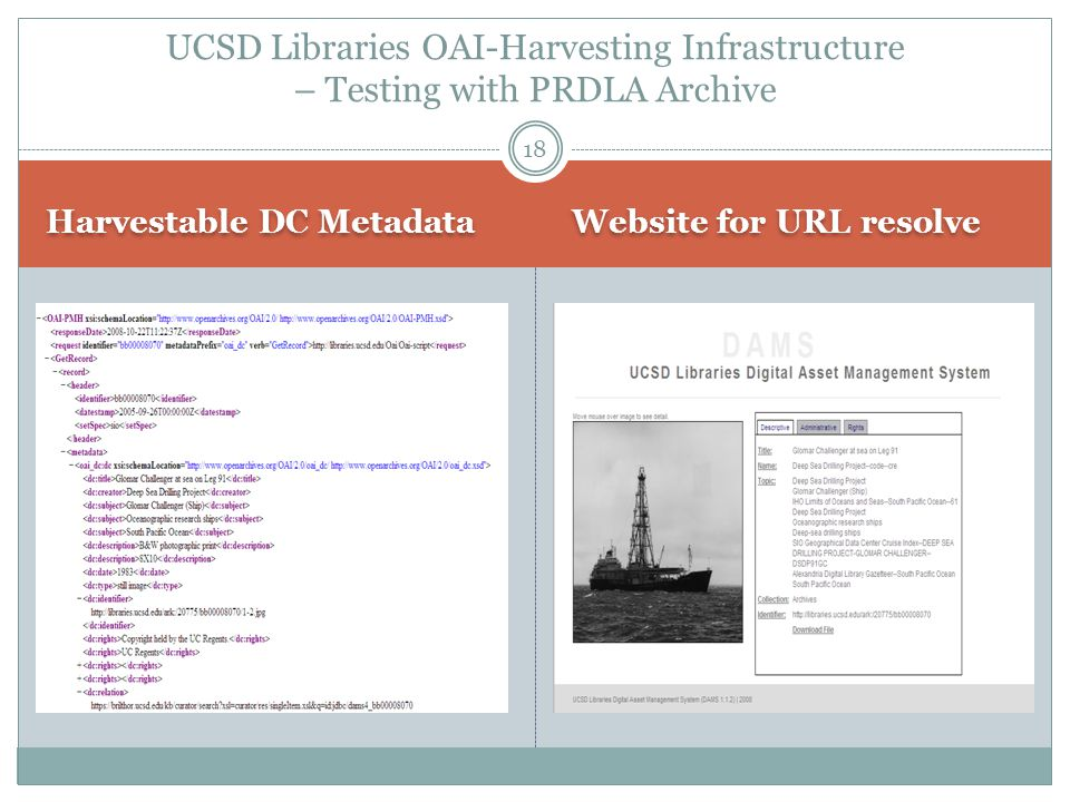 Harvestable DC Metadata Website for URL resolve 18 UCSD Libraries OAI-Harvesting Infrastructure – Testing with PRDLA Archive