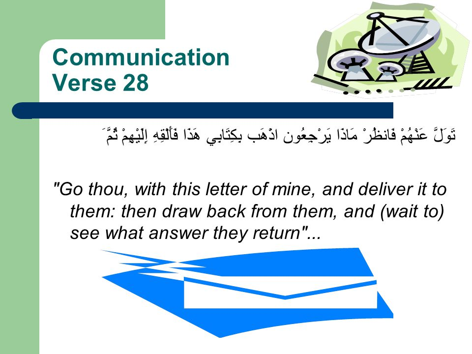 Communication Verse 28 اذْهَب بِكِتَابِي هَذَا فَأَلْقِهِ إِلَيْهِمْ ثُمَّ َ تَوَلَّ عَنْهُمْ فَانظُرْ مَاذَا يَرْجِعُون Go thou, with this letter of mine, and deliver it to them: then draw back from them, and (wait to) see what answer they return ...