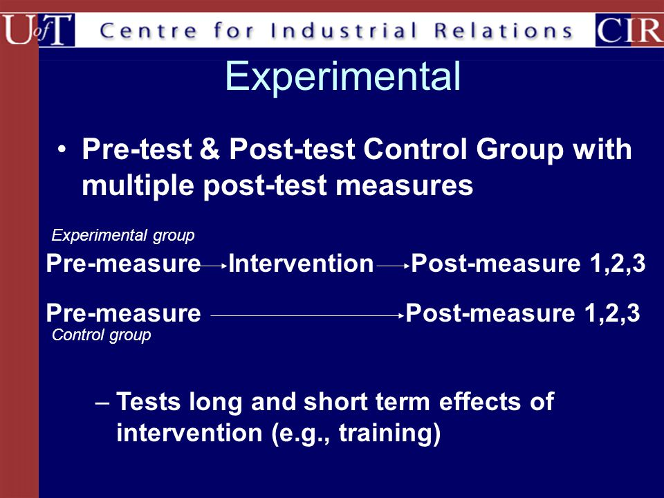 Pre-test & Post-test Control Group with multiple post-test measures Experimental InterventionPost-measure 1,2,3Pre-measure Post-measure 1,2,3Pre-measure Experimental group Control group –Tests long and short term effects of intervention (e.g., training)