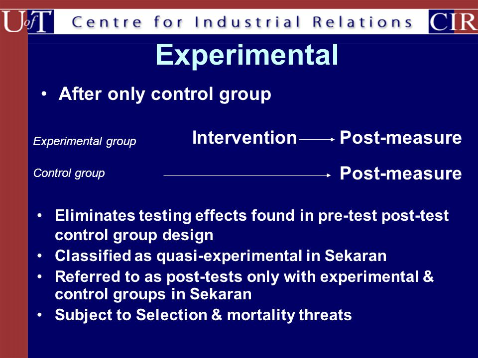 Experimental After only control group InterventionPost-measure Experimental group Control group Eliminates testing effects found in pre-test post-test control group design Classified as quasi-experimental in Sekaran Referred to as post-tests only with experimental & control groups in Sekaran Subject to Selection & mortality threats