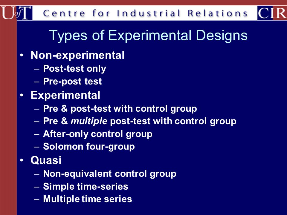 Types of Experimental Designs Non-experimental –Post-test only –Pre-post test Experimental –Pre & post-test with control group –Pre & multiple post-test with control group –After-only control group –Solomon four-group Quasi –Non-equivalent control group –Simple time-series –Multiple time series