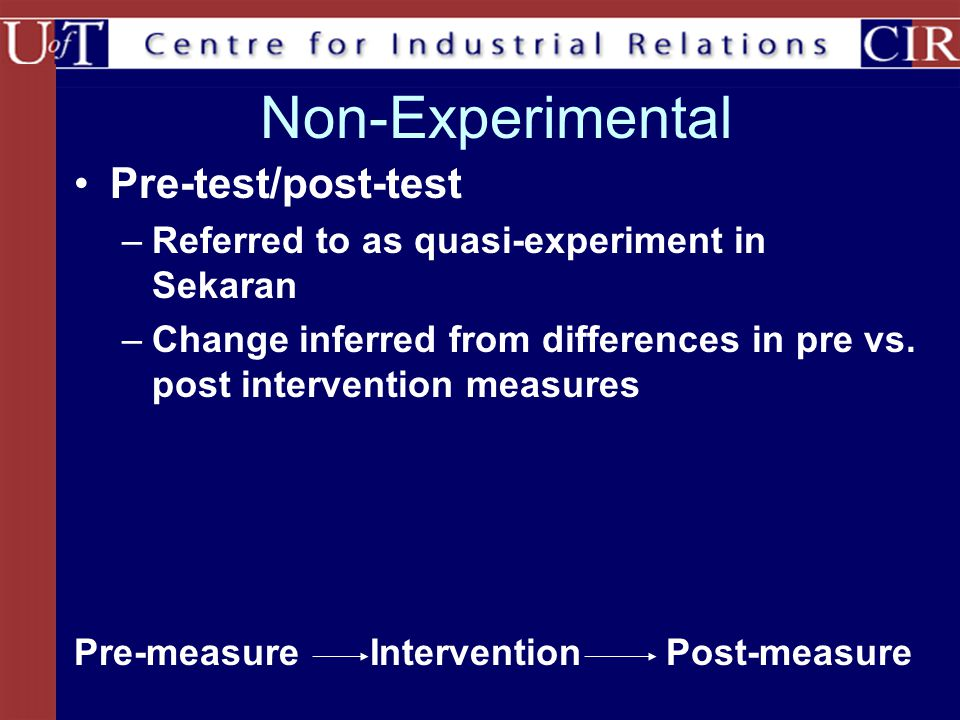 Non-Experimental Pre-test/post-test –Referred to as quasi-experiment in Sekaran –Change inferred from differences in pre vs.