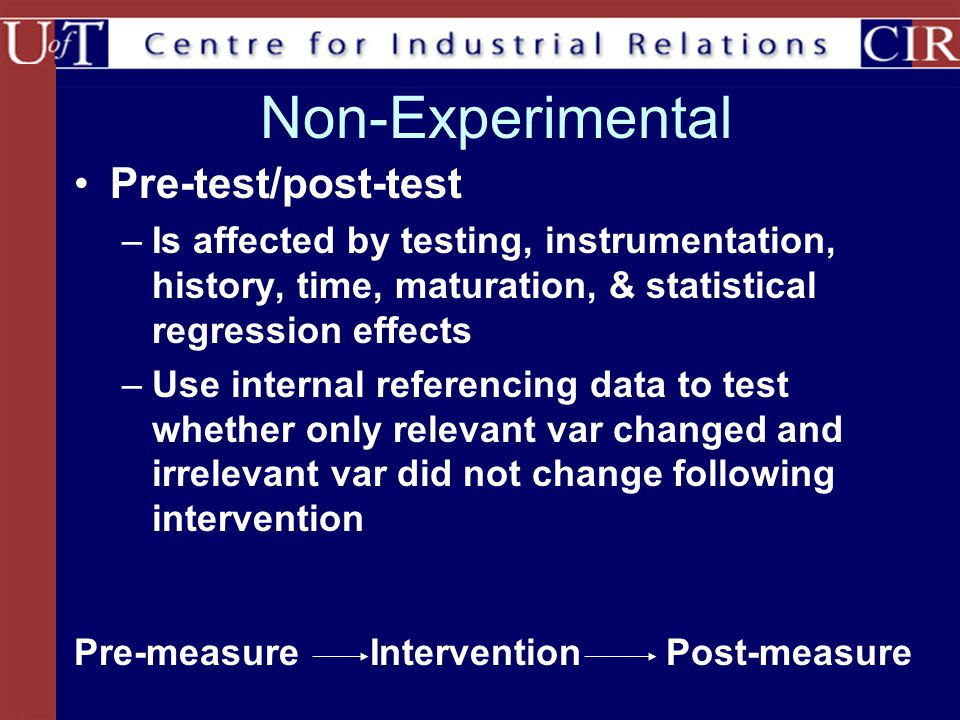 Non-Experimental Pre-test/post-test –Is affected by testing, instrumentation, history, time, maturation, & statistical regression effects –Use internal referencing data to test whether only relevant var changed and irrelevant var did not change following intervention InterventionPost-measurePre-measure