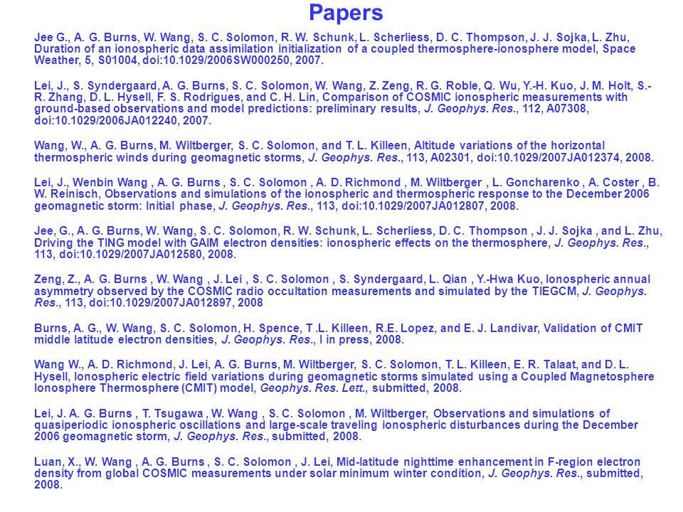 Jee G., A. G. Burns, W. Wang, S. C. Solomon, R. W. Schunk, L. Scherliess, D. C. Thompson, J. J. Sojka, L. Zhu, Duration of an ionospheric data assimil