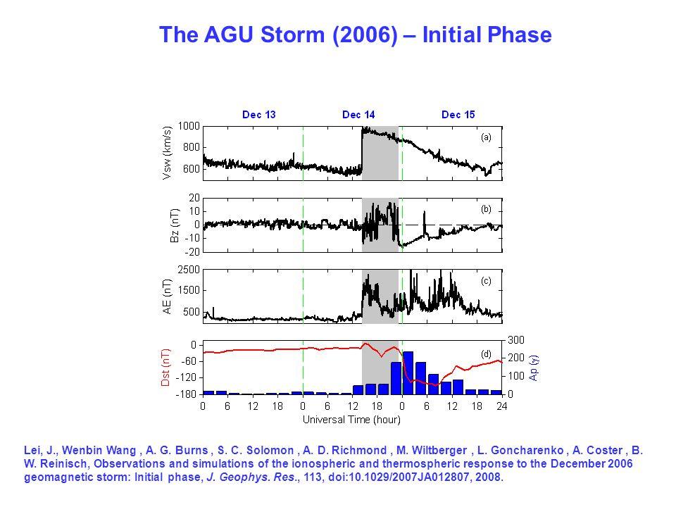 The AGU Storm (2006) – Initial Phase Lei, J., Wenbin Wang, A. G. Burns, S. C. Solomon, A. D. Richmond, M. Wiltberger, L. Goncharenko, A. Coster, B. W.