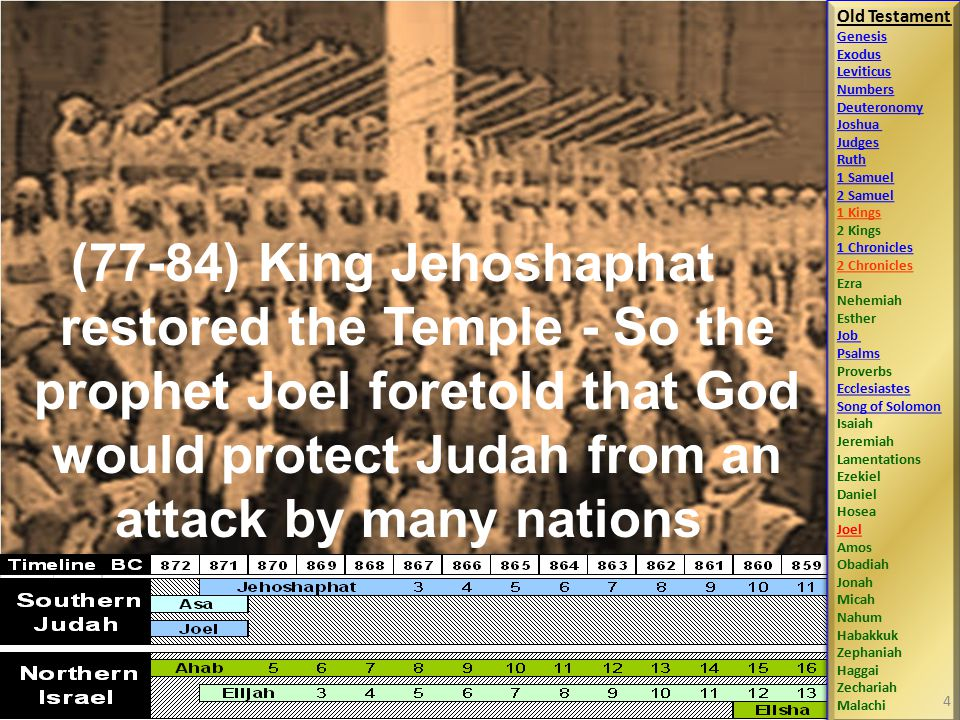 (77-84) King Jehoshaphat restored the Temple - So the prophet Joel foretold that God would protect Judah from an attack by many nations Old Testament Genesis Exodus Leviticus Numbers Deuteronomy Joshua Judges Ruth 1 Samuel 2 Samuel 1 Kings 2 Kings 1 Chronicles 2 Chronicles Ezra Nehemiah Esther Job Psalms Proverbs Ecclesiastes Song of Solomon Isaiah Jeremiah Lamentations Ezekiel Daniel Hosea Joel Amos Obadiah Jonah Micah Nahum Habakkuk Zephaniah Haggai Zechariah Malachi Old Testament Genesis Exodus Leviticus Numbers Deuteronomy Joshua Judges Ruth 1 Samuel 2 Samuel 1 Kings 2 Kings 1 Chronicles 2 Chronicles Ezra Nehemiah Esther Job Psalms Proverbs Ecclesiastes Song of Solomon Isaiah Jeremiah Lamentations Ezekiel Daniel Hosea Joel Amos Obadiah Jonah Micah Nahum Habakkuk Zephaniah Haggai Zechariah Malachi 4