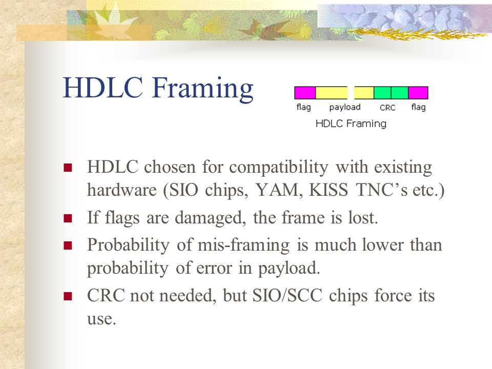 HDLC Framing HDLC chosen for compatibility with existing hardware (SIO chips, YAM, KISS TNC's etc.) If flags are damaged, the frame is lost. Probabili