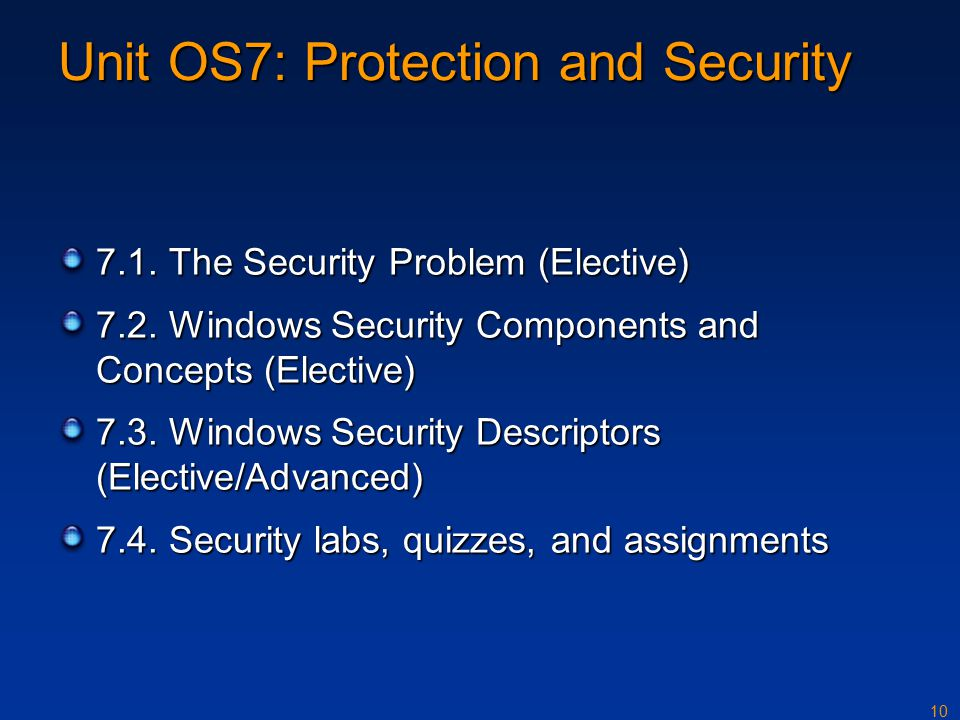 10 Unit OS7: Protection and Security 7.1.The Security Problem (Elective) 7.2.