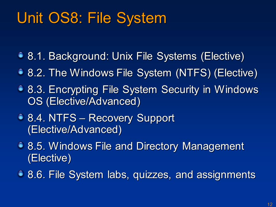 12 Unit OS8: File System 8.1. Background: Unix File Systems (Elective) 8.2.