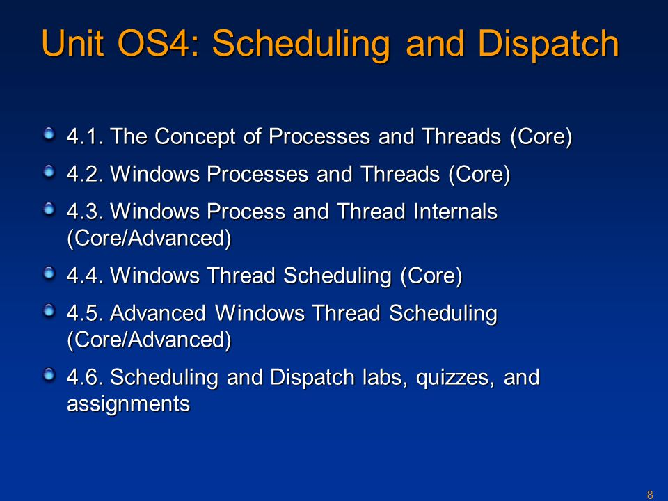 8 Unit OS4: Scheduling and Dispatch 4.1. The Concept of Processes and Threads (Core) 4.2.