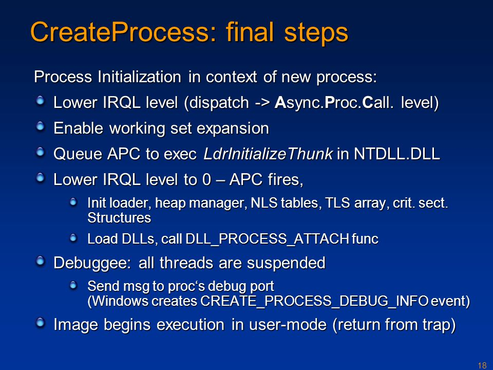 18 CreateProcess: final steps Process Initialization in context of new process: Lower IRQL level (dispatch -> Async.Proc.Call.