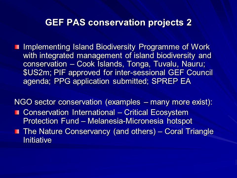 Other GEF PAS projects 1 Renewable energy – Cook Islands, Tuvalu, Tonga, Nauru; $3.45m; inception workshop; IUCN Oceania (Suva) EA Persistent Organic Pesticides monitoring; $0.517; Fiji, Kiribati, Niue, Samoa, Palau, Solomon Islands, Cook Islands; underway; USP EA DDT management; PNG, Solomon Islands, Vanuatu, Thailand; $1m; PIF written unknown future; EA UNEP/FAO