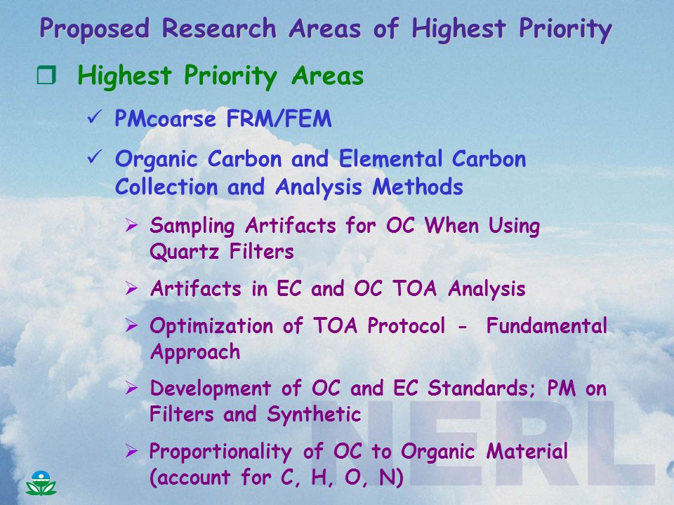 rHighest Priority Areas PMcoarse FRM/FEM Organic Carbon and Elemental Carbon Collection and Analysis Methods  Sampling Artifacts for OC When Using Quartz Filters  Artifacts in EC and OC TOA Analysis  Optimization of TOA Protocol - Fundamental Approach  Development of OC and EC Standards; PM on Filters and Synthetic  Proportionality of OC to Organic Material (account for C, H, O, N)