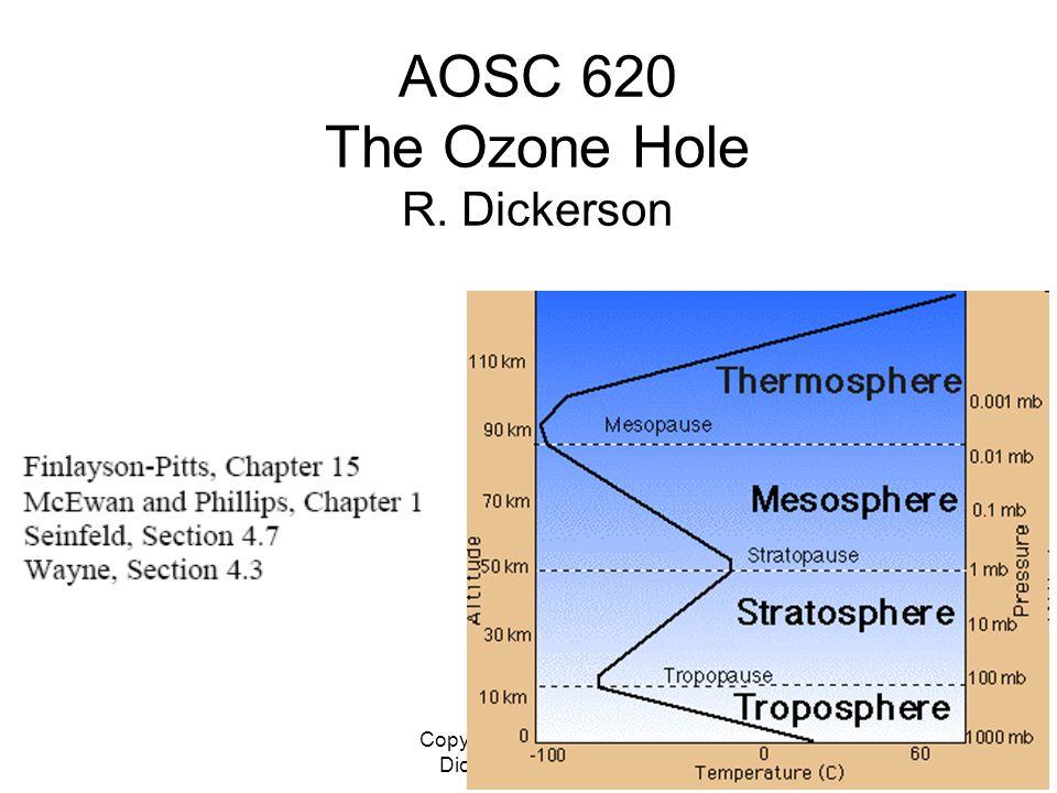 Copyright © 2010 R. R. Dickerson & Z.Q. Li 1 AOSC 620 The Ozone Hole R. Dickerson
