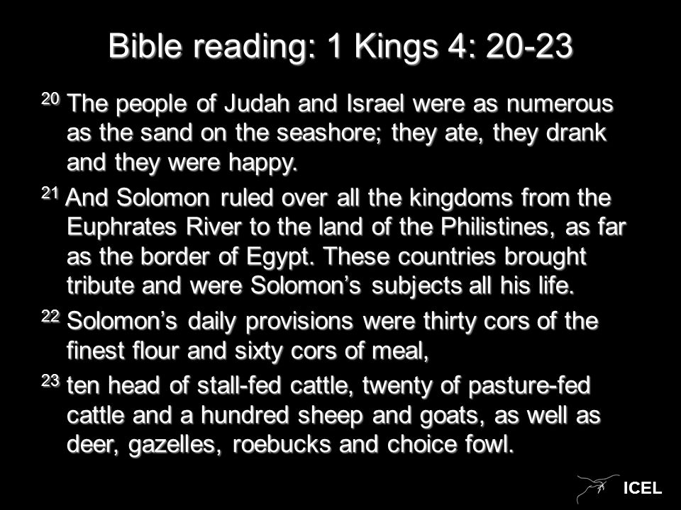 ICEL Bible reading: 1 Kings 4: 20-23 20 The people of Judah and Israel were as numerous as the sand on the seashore; they ate, they drank and they were happy.