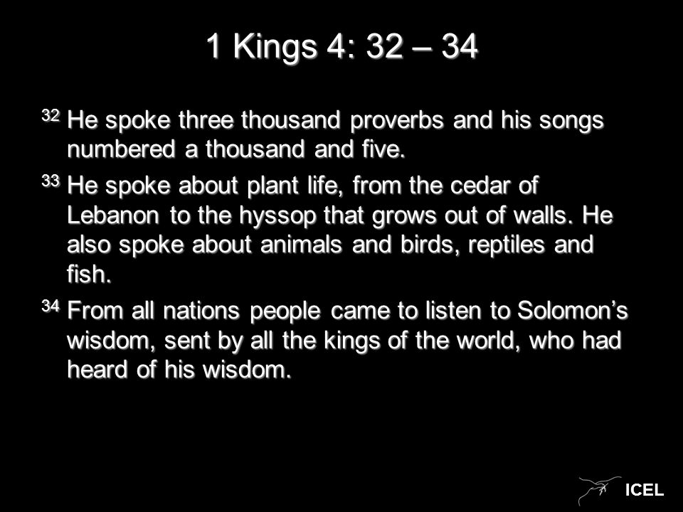 ICEL 1 Kings 4: 32 – 34 32 He spoke three thousand proverbs and his songs numbered a thousand and five.