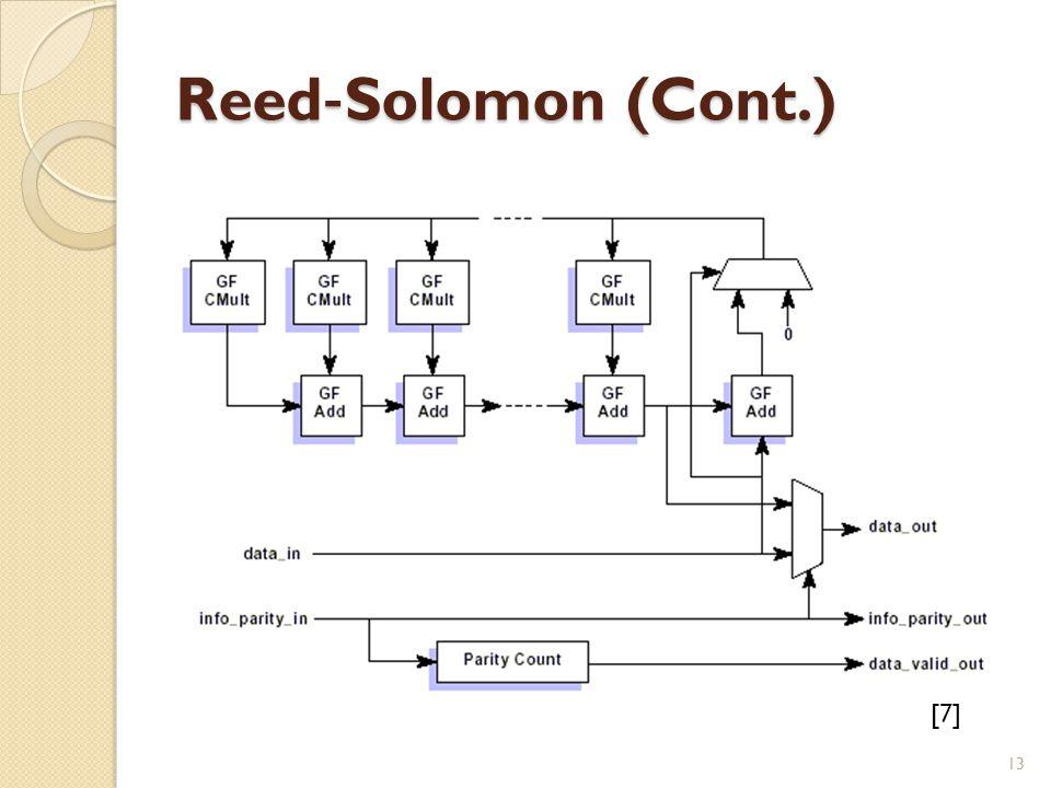 Reed ‐ Solomon (Cont.) [7] 13
