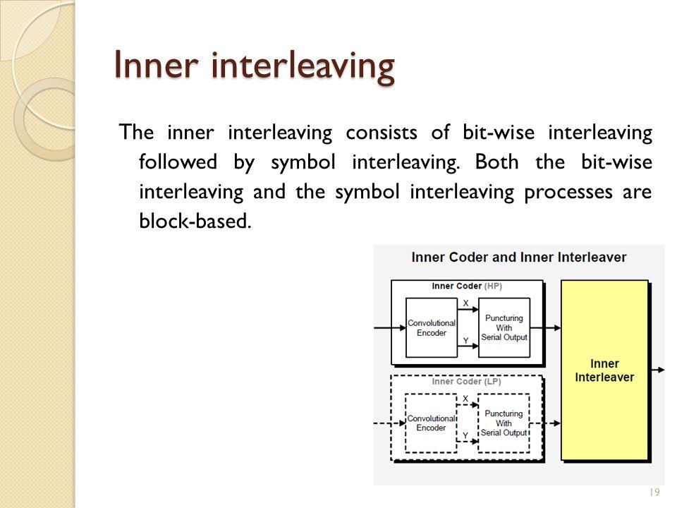 Inner interleaving The inner interleaving consists of bit-wise interleaving followed by symbol interleaving.