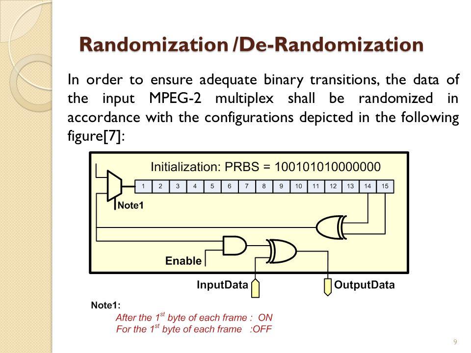 Randomization /De-Randomization In order to ensure adequate binary transitions, the data of the input MPEG-2 multiplex shall be randomized in accordan