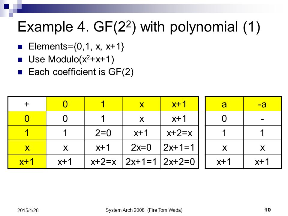System Arch 2008 (Fire Tom Wada) 10 2015/4/28 Example 4. GF(2 2 ) with polynomial (1) Elements={0,1, x, x+1} Use Modulo(x 2 +x+1) Each coefficient is