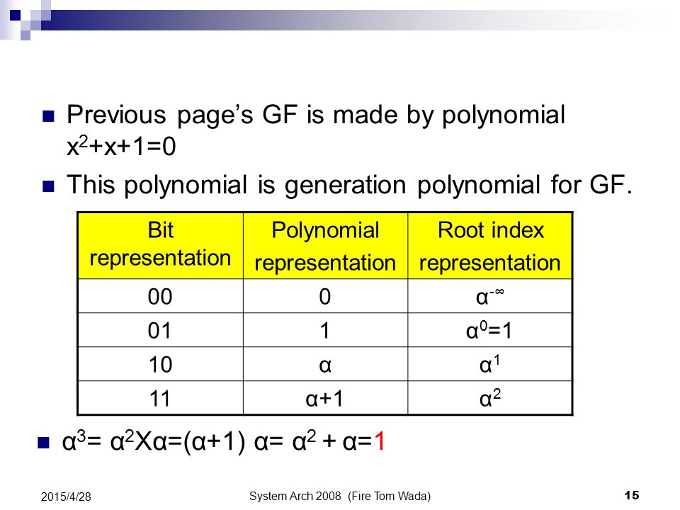 System Arch 2008 (Fire Tom Wada) 15 2015/4/28 Previous page's GF is made by polynomial x 2 +x+1=0 This polynomial is generation polynomial for GF. Bit
