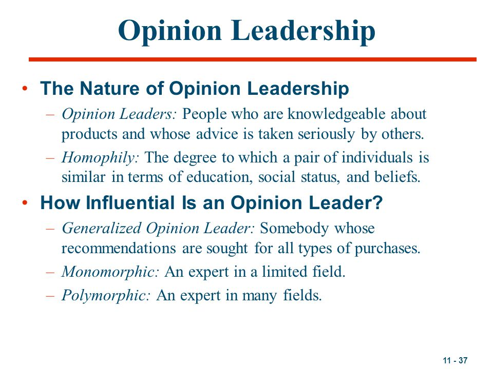 11 - 37 Opinion Leadership The Nature of Opinion Leadership –Opinion Leaders: People who are knowledgeable about products and whose advice is taken seriously by others.