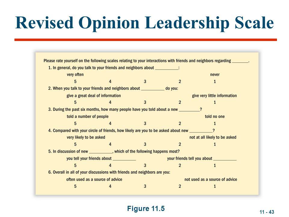 11 - 43 Revised Opinion Leadership Scale Figure 11.5