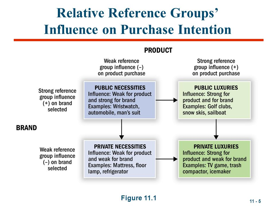 11 - 5 Relative Reference Groups' Influence on Purchase Intention Figure 11.1