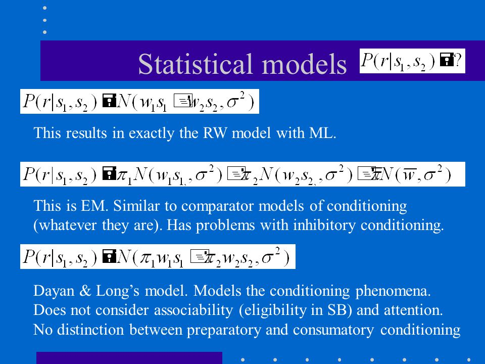 Statistical models This results in exactly the RW model with ML.