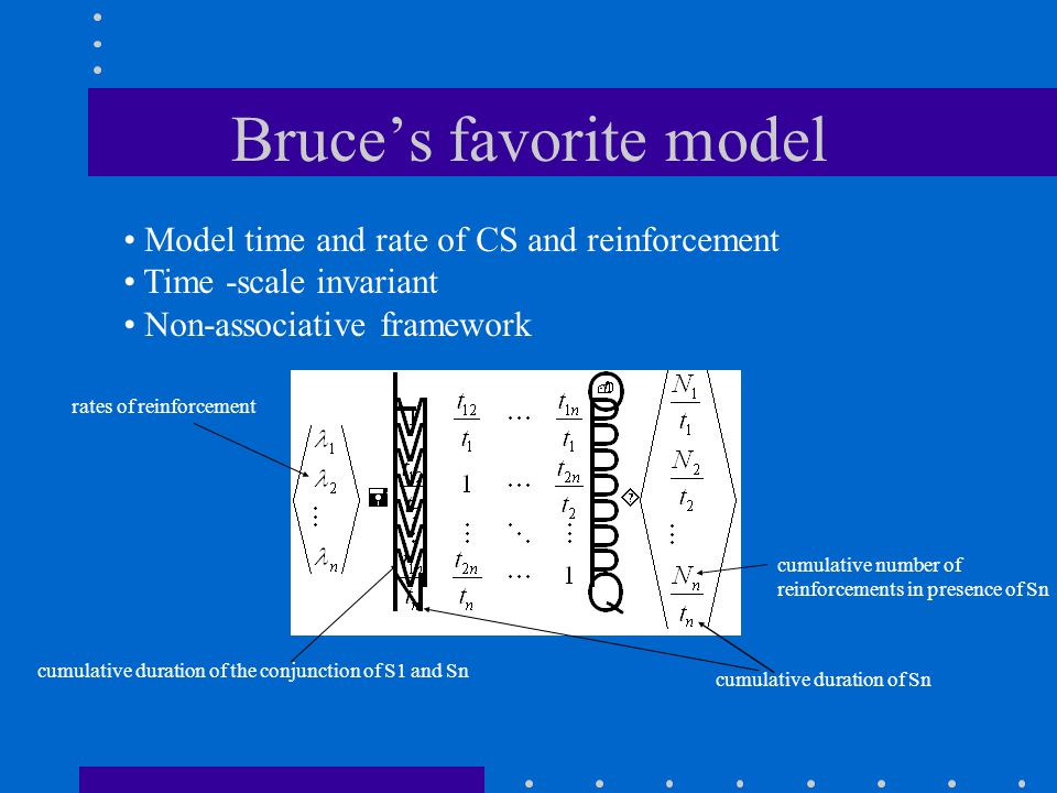Bruce's favorite model Model time and rate of CS and reinforcement Time -scale invariant Non-associative framework cumulative duration of Sn cumulative number of reinforcements in presence of Sn rates of reinforcement cumulative duration of the conjunction of S1 and Sn