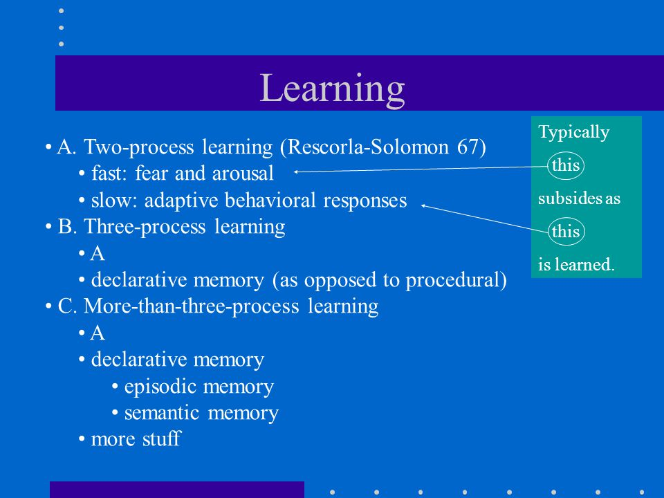 Learning A. Two-process learning (Rescorla-Solomon 67) fast: fear and arousal slow: adaptive behavioral responses B. Three-process learning A declarat