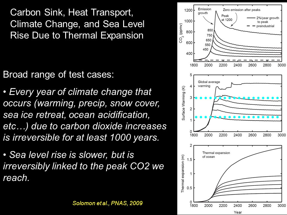Carbon Sink, Heat Transport, Climate Change, and Sea Level Rise Due to Thermal Expansion Broad range of test cases: Every year of climate change that occurs (warming, precip, snow cover, sea ice retreat, ocean acidification, etc…) due to carbon dioxide increases is irreversible for at least 1000 years.