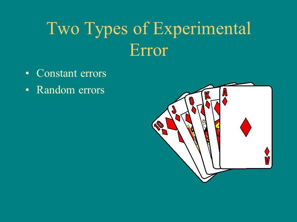 Two Types of Experimental Error Constant errors Random errors