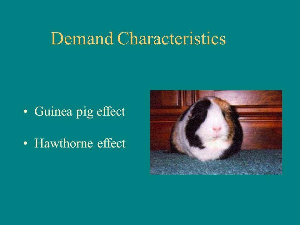 Demand Characteristics Guinea pig effect Hawthorne effect