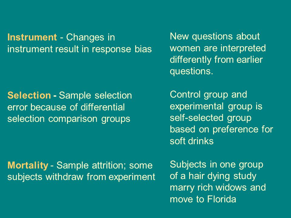 Instrument - Changes in instrument result in response bias Selection - Sample selection error because of differential selection comparison groups Mortality - Sample attrition; some subjects withdraw from experiment New questions about women are interpreted differently from earlier questions.