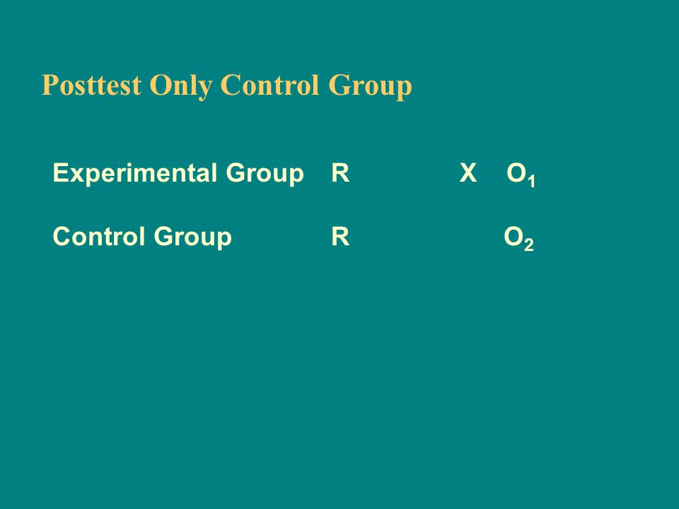 Posttest Only Control Group Experimental Group R X O 1 Control Group R O 2