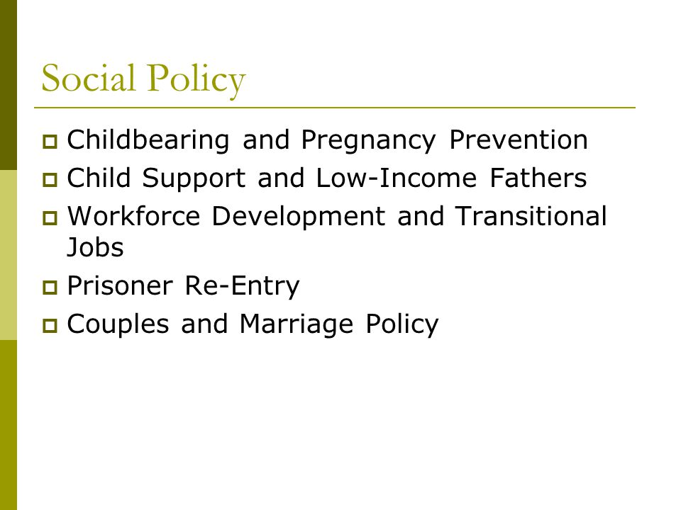 Social Policy  Childbearing and Pregnancy Prevention  Child Support and Low-Income Fathers  Workforce Development and Transitional Jobs  Prisoner Re-Entry  Couples and Marriage Policy