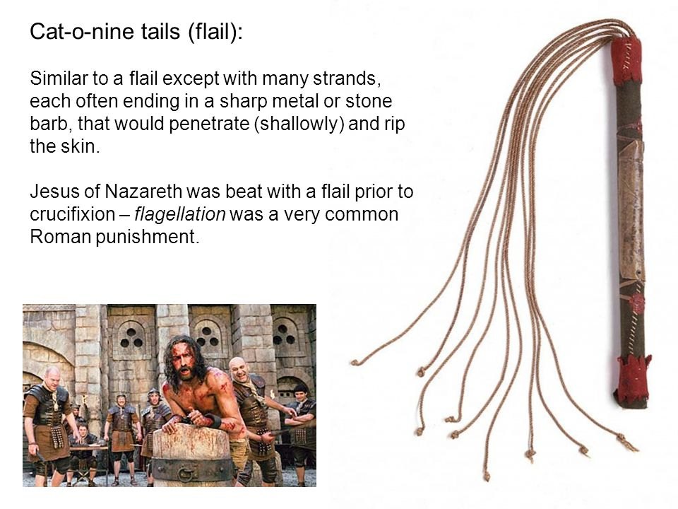Cat-o-nine tails (flail): Similar to a flail except with many strands, each often ending in a sharp metal or stone barb, that would penetrate (shallowly) and rip the skin.