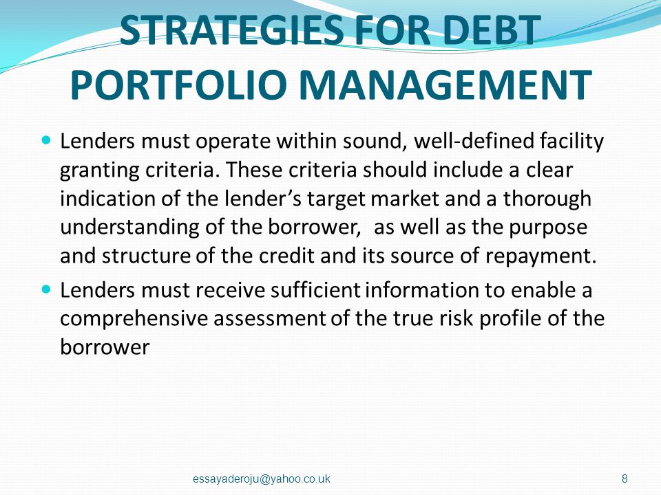 STRATEGIES FOR DEBT PORTFOLIO MANAGEMENT Like any management process, debt monitoring and supervision requires a process of action, analysis and follo