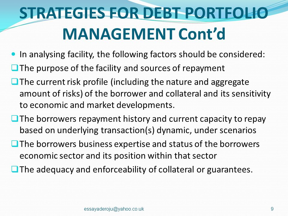 STRATEGIES FOR DEBT PORTFOLIO MANAGEMENT Lenders must operate within sound, well-defined facility granting criteria. These criteria should include a c
