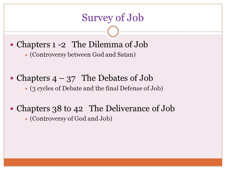 Survey of Job Chapters 1 -2 The Dilemma of Job  (Controversy between God and Satan) Chapters 4 – 37 The Debates of Job  (3 cycles of Debate and the