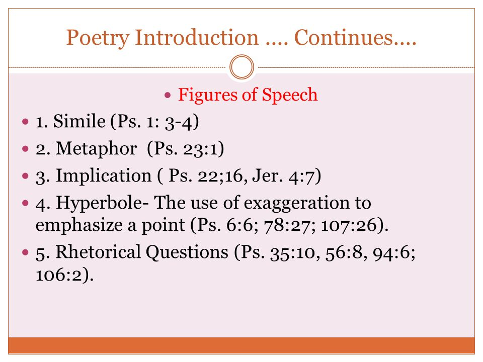 Poetry Introduction.... Continues.... Figures of Speech 1. Simile (Ps. 1: 3-4) 2. Metaphor (Ps. 23:1) 3. Implication ( Ps. 22;16, Jer. 4:7) 4. Hyperbo
