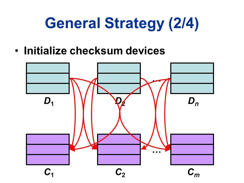 General Strategy (2/4) D1D1 … D2D2 DnDn C1C1 … C2C2 CmCm Initialize checksum devices