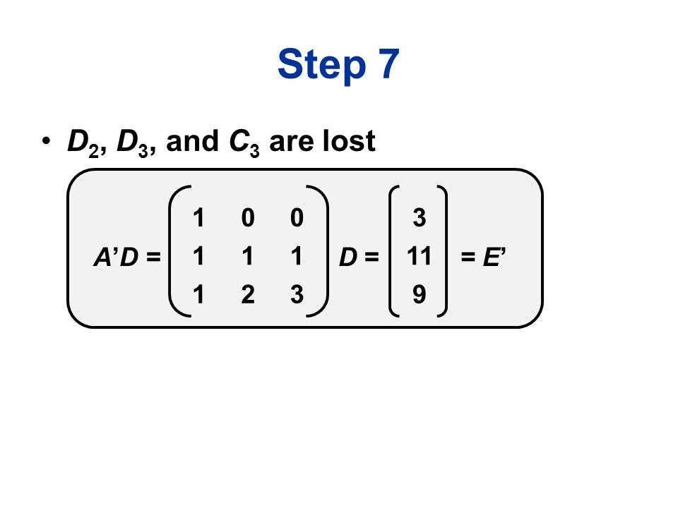 Step 7 D 2, D 3, and C 3 are lost 100 111 123 D =A'D = 3 11 9 = E'
