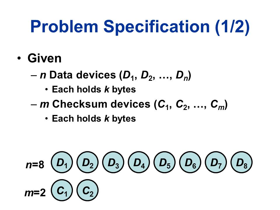 Problem Specification (1/2) Given –n Data devices (D 1, D 2, …, D n ) Each holds k bytes –m Checksum devices (C 1, C 2, …, C m ) Each holds k bytes D1