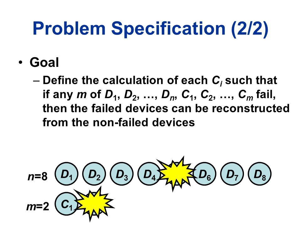 Problem Specification (2/2) Goal –Define the calculation of each C i such that if any m of D 1, D 2, …, D n, C 1, C 2, …, C m fail, then the failed devices can be reconstructed from the non-failed devices D1D1 D2D2 D3D3 D4D4 D5D5 D6D6 D7D7 D8D8 n=8 m=2 C1C1 C2C2