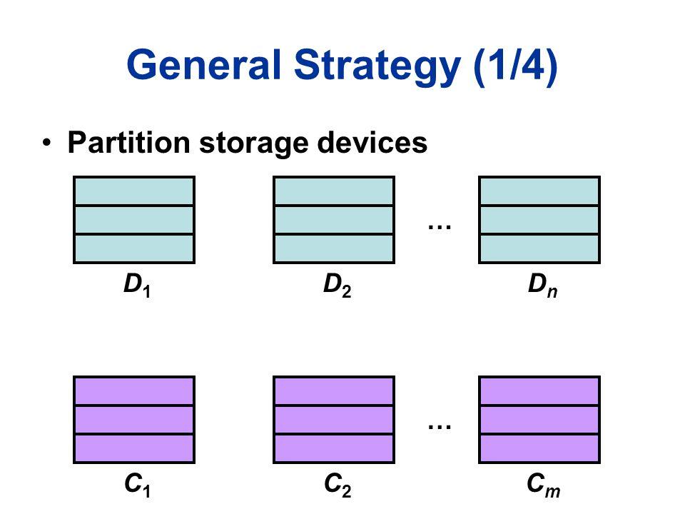 General Strategy (1/4) … … Partition storage devices D1D1 D2D2 DnDn C1C1 C2C2 CmCm